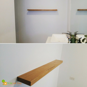 Bathroom Blackbutt Floating Shelf Fix Up Look Sharp