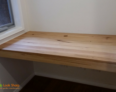 A small Recycled Messmate floating desk in Ocean Grove