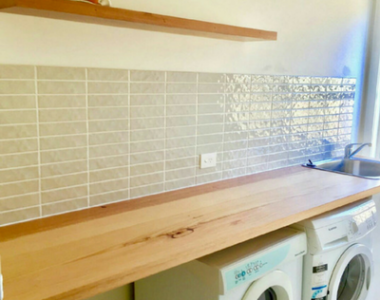 Recycled Messmate Laundry Benchtop and Shelf in Ocean Grove